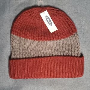 Old Navy Red and Grey Striped Knit Beanie